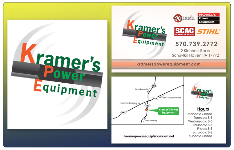 Andrew kramer print work kramer power equipment logo kramers power equipment logo and business card reheart Choice Image