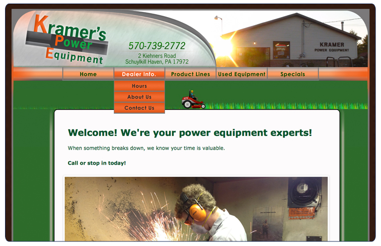 Kramer's Power Equipment Website Picture